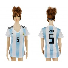 2018 World Cup Argentina home aaa version women 5 soccer jersey