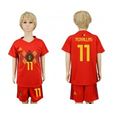 2018 World Cup Belgium home kids 11 red soccer jersey