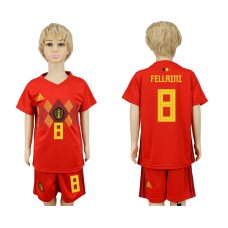 2018 World Cup Belgium home kids 8 red soccer jersey