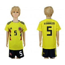 2018 World Cup Colombia home kids 5 yellow soccer jersey