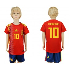 2018 World Cup Spain home kids 10 red soccer jersey