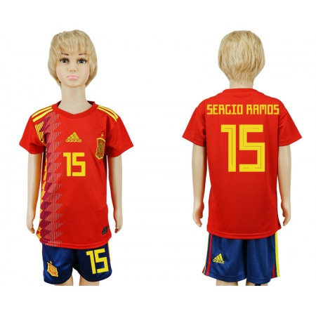 2018 World Cup Spain home kids 15 red soccer jersey