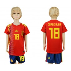2018 World Cup Spain home kids 18 red soccer jersey
