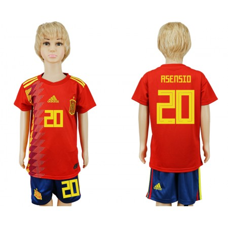 2018 World Cup Spain home kids 20 red soccer jersey