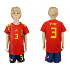 2018 World Cup Spain home kids 3 red soccer jersey