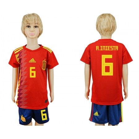 2018 World Cup Spain home kids 6 red soccer jersey