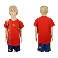 2018 World Cup Spain home kids blank red soccer jersey