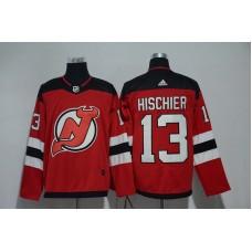 Men New Jersey Devils 13 Hischier Red Hockey Stitched Adidas NHL Jerseys