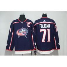 Men Columbus Blue Jackets 71 Foligno Blue Hockey Stitched Adidas NHL Jerseys