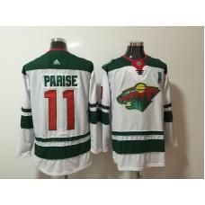 Men Minnesota Wild 11 Parise White Hockey Stitched Adidas NHL Jerseys
