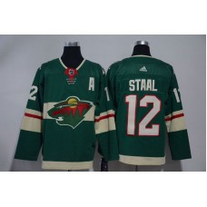 Men Minnesota Wild 12 Staal Green Hockey Stitched Adidas NHL Jerseys