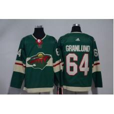 Men Minnesota Wild 64 Granlund Green Hockey Stitched Adidas NHL Jerseys