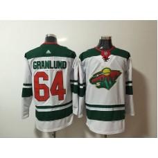 Men Minnesota Wild 64 Granlund White Hockey Stitched Adidas NHL Jerseys