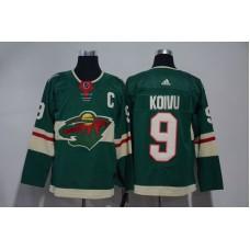 Men Minnesota Wild 9 Koivu Green Hockey Stitched Adidas NHL Jerseys