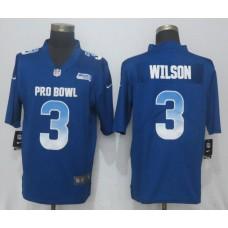 Men Seattle Seahawks 3 Wilson Blue New Nike Royal 2018 Pro Bowl Limited NFL Jerseys