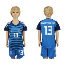 2018 World Cup Spain goalkeeper kids 13 blue soccer jersey