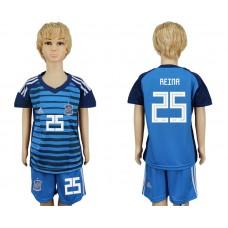 2018 World Cup Spain goalkeeper kids 25 blue soccer jersey