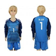 2018 World Cup Spain goalkeeper kids Long sleeve 1 blue soccer jersey