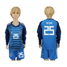 2018 World Cup Spain goalkeeper kids Long sleeve 25 blue soccer jersey