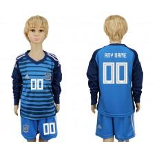 2018 World Cup Spain goalkeeper kids Long sleeve customized blue soccer jersey