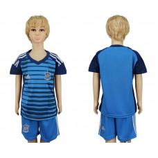2018 World Cup Spain goalkeeper kids blue soccer jersey