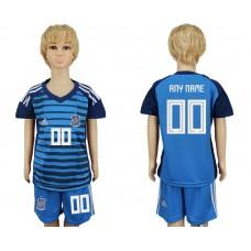 2018 World Cup Spain goalkeeper kids customized blue soccer jersey