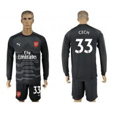 Men 2017-2018 club Arsenal black goalkeeper Long sleeve 33 soccer jersey