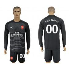 Men 2017-2018 club Arsenal black goalkeeper Long sleeve customized soccer jersey