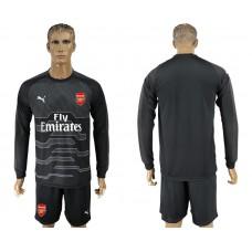 Men 2017-2018 club Arsenal black goalkeeper Long sleeve soccer jersey