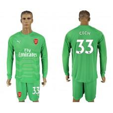 Men 2017-2018 club Arsenal green goalkeeper long sleeve 33 soccer jersey