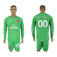 Men 2017-2018 club Arsenal green goalkeeper long sleeve customized soccer jersey