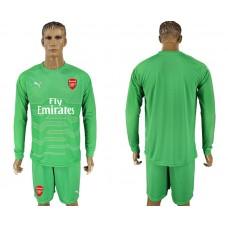 Men 2017-2018 club Arsenal green goalkeeper long sleeve soccer jersey