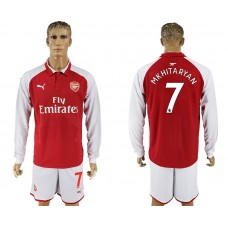 Men 2017-2018 club Arsenal home long sleeve 7 red soccer jersey