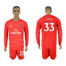 Men 2017-2018 club Arsenal red goalkeeper long sleeve 33 soccer jersey
