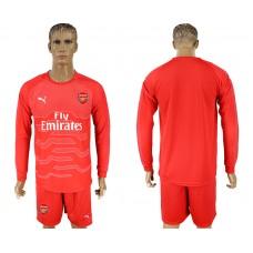 Men 2017-2018 club Arsenal red goalkeeper long sleeve soccer jersey