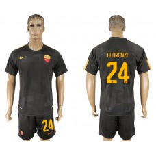 Men 2017-2018 club Rome away 24 black soccer jersey