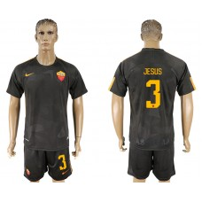 Men 2017-2018 club Rome away 3 black soccer jersey
