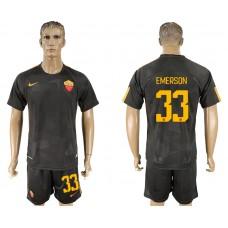 Men 2017-2018 club Rome away 33 black soccer jersey
