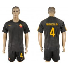 Men 2017-2018 club Rome away 4 black soccer jersey
