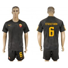 Men 2017-2018 club Rome away 6 black soccer jersey