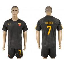 Men 2017-2018 club Rome away 7 black soccer jersey