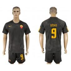 Men 2017-2018 club Rome away 9 black soccer jersey