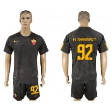 Men 2017-2018 club Rome away 92 black soccer jersey