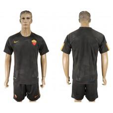Men 2017-2018 club Rome away blank black soccer jersey