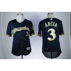 Men Milwaukee Brewers 3 Arcia Blue Elite MLB Jerseys