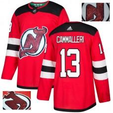 Men New Jersey Devils 13 Cammalleri Red Gold embroidery Adidas NHL Jerseys