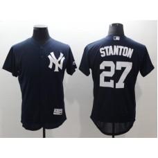 Men New York Yankees 27 Stanton Blue Elite MLB Jerseys