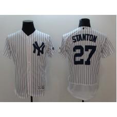 Men New York Yankees 27 Stanton White Elite MLB Jerseys
