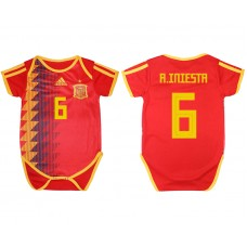 2018 World Cup Espana home baby clothes 6 red soccer jersey