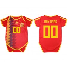 2018 World Cup Espana home baby clothes customized red soccer jersey